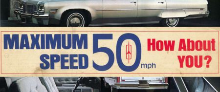 Porque 55 era demasiado rápido durante la escasez de petroleo: estaba la pegatina Oldsmobile de 50 MPH (80,5 km/h.)